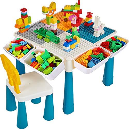 Bausteine Spieltisch, Kindertisch und Stuhl Set mit 130Stücke Blocks, Platte, 4 Aufbewahrung Box für Lernspielzeug, 6 in 1 Schreibtisch, Geschenk für Jungen und Mädchen, Wasser /Sand /Zeichnen /Essen