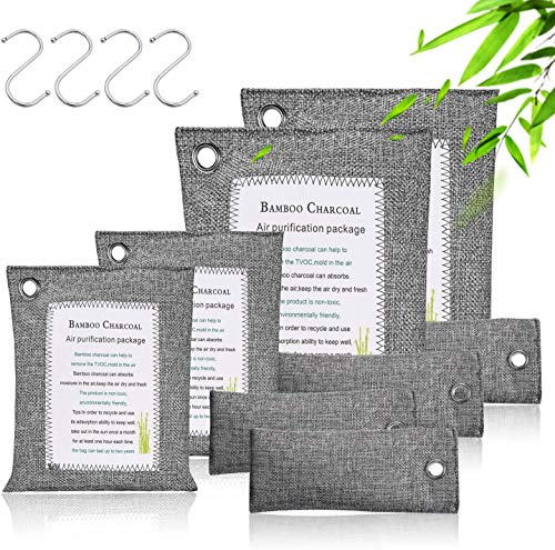Activated Bamboo Charcoal Bags (8 Pack - 2x200g+2x100g+4x50g) with 4 Hooks, Charcoal Bags for Home and Car (Pet Friendly)