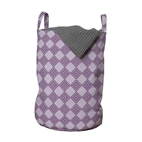 ABAKUHAUS Abstracto Bolsa de lavandería, Monótona mística del adorno, Cesta con asas Cierre de cordón para las lavanderías, 33 x 33 x 49 cm, Lila y púrpura