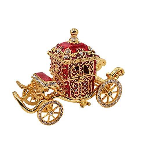 JOMOSIN SNH0216 - Joyero de metal pintado con forma de carruaje con diamantes de imitación esmaltados para el hogar (5 9 11 cm)