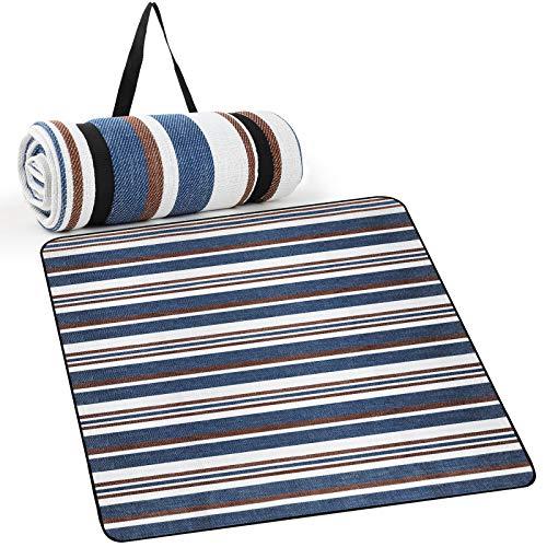 WD&CD Manta Picnic 200 x 200cm, Manta Picnic Impermeable para Interior, Playa, Camping al Aire Libre, Lavable a Máquina, Manta de Camping, Estera de Picnic de Duradera, Plegable, Azul