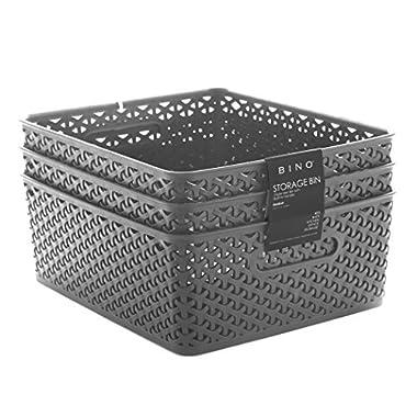 BINO Woven Plastic Storage Basket, Medium – 3 PACK (Grey)