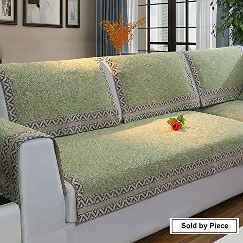 Z-one Sofa Abdeckung Retro Dekoration Sofa Überwurf Baumwolle Anti-rutsch Schmutzabweisend Kissen beschützer Für L förmige- Couch Schnitt-Grün 90x120cm(35x47inch)