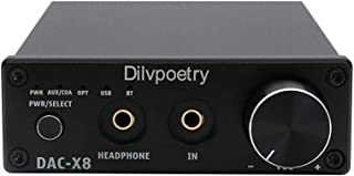Dilvpoetry X8 Bluetooth 5.0 USB DAC Headphone Amplifier 24bit/192kHz 1000mW/32Ω 3.5mm Output Decoder TPA6120 CS4398 Optica...
