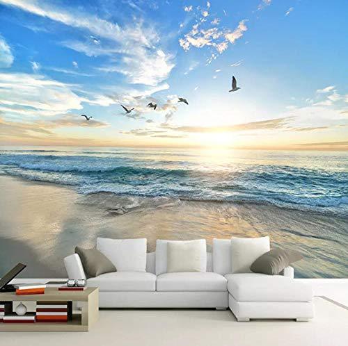 Fototapete Blauer Himmel der Strandseemöwe Moderne Wanddeko Design Tapete Wandtapete Wand Dekoratio TV Hintergrundwand 250x175 cm