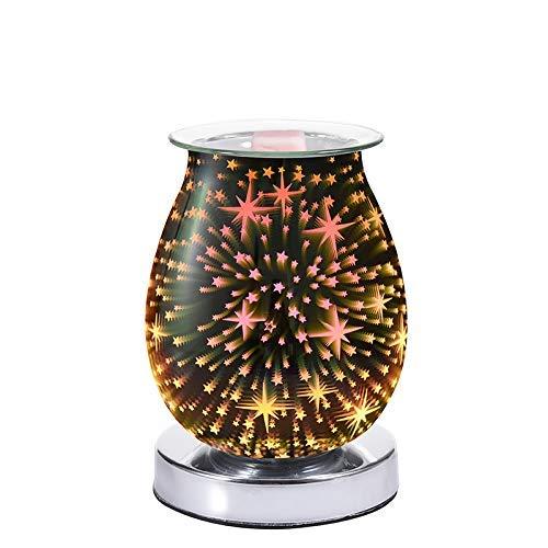 SCJ Lámpara eléctrica del Aroma de la Estrella de Cristal 3D, luz de la Noche del Aroma de la hornilla del Aceite Esencial del fusor de Cera, decoración del hogar