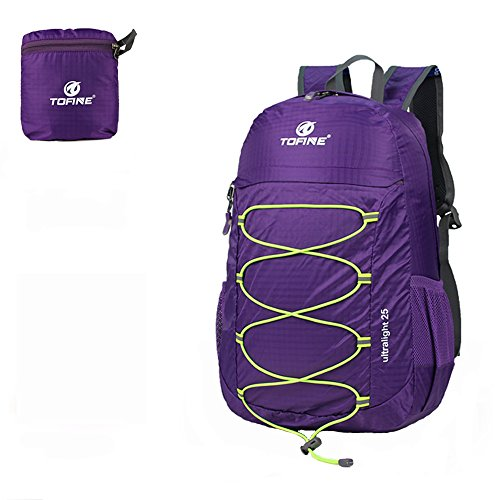 TOFINE Large Hiking Travel Camping Gear Light Weight Foldable Waterproof Portable Backpack 25 Liter Purple