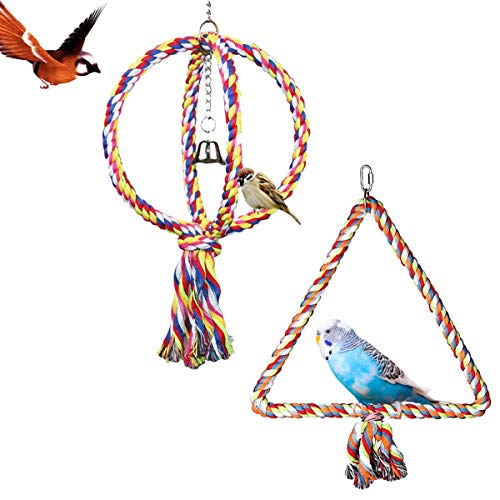2 Stück Baumwollseil, kugelförmige Sitzstange für Vögel – Papageien Schaukeln, Bungee-Spielzeug, Ständer, Bar, Vogelspielzeug, dreieckig, hängende Sitzstange, Kauspielzeug mit Glocke für Papageien