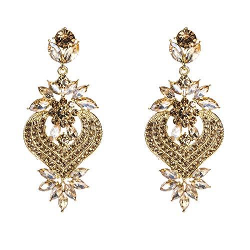 VIWIV Pendientes Europa y los Estados Unidos aman los pendientes de flores exagerados de aleación de diamantes de moda pendientes de múltiples capas pendientes bohemios con joyas de estilo INS for muj