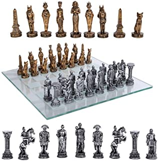 Ebros Kingdoms At War Egyptian Empire Versus Roman Empire Chess Set Made Of Hand Painted Resin Chess Pieces And Glass Checkered Board