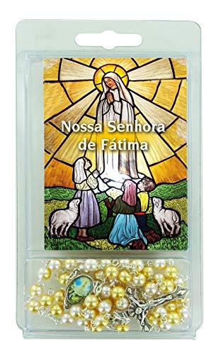 Ferrari & Arrighetti Rosario Perlas Blancas y Doradas con Imagen de la Virgen de Fátima (Paquete de 3 Unidades)