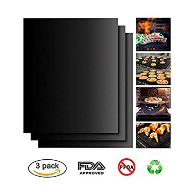Peterivan Grill Mat Set of 3 - 100% Non Stick BBQ Grilling Mats - Heavy Duty 500F Degree Magic Grill Mat, Reusable, and Easy to Clean - 13 x 15.75 Inch