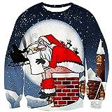 Sweatshirts de Noël Moche Adolescents Funny imprimé drôle Chemise à Manches Longues du père Noël 3XL
