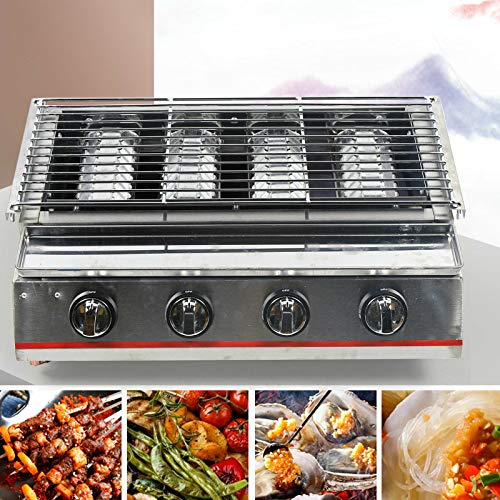 TBVECHI Smokeless BBQ Grill with 4 Burners, 2800PA Commercial LPG Gas BBQ Grill Outdoor Tabletop Picnic Camping Barbeque Roaster (4 Burners) Grills Propane