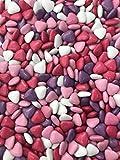 Dragées chocolat FORME MINI COEUR variation de rose parme fuschia lilas 1kg - pas cher - environ 1150 dragées - Fabrication artisanale en France