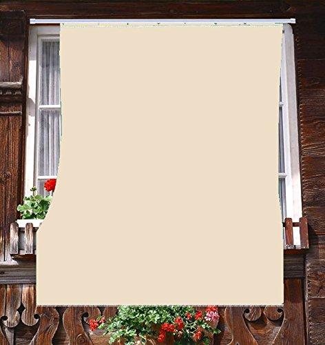 Tenda da Sole da Esterno per Balcone in Tessuto Resistente Misura cm 140x250 in 100% Poliestere con Anelli Dis. 5 Beige