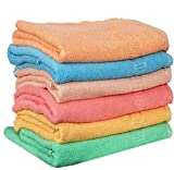 Weavers Villa Cotton Hand Towel (Set of 6, Multicolour)