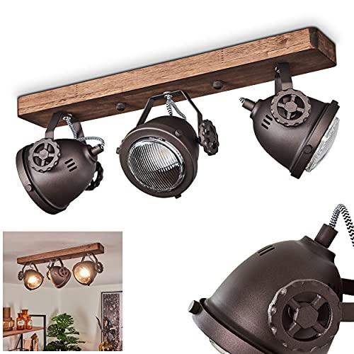 Lampada da soffitto Herford a 3 luci, in metallo e legno marrone con paralume in vetro, faretti...