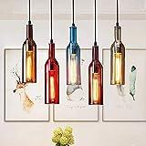 LLDKA Creativa Cocina del Restaurante lámpara Retro luz Pendiente de época Industrial, Techo de Cristal Tintado