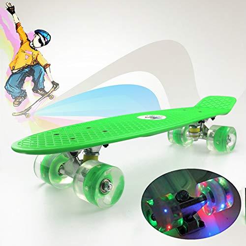 Retro-Skateboard für Kinder, Single-Tilt-Allrad, 22-Zoll-Cruiser-Skateboard aus Kunststoff und leuchtende Räder, geeignet für Kinder, Jungen und Mädchen, Anfänger 9