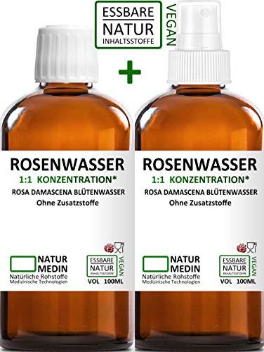ROSENWASSER 2 x 100-ml SPRAY GLAS Gesichtswasser, 100 % naturrein, 1:1 Konzentration, Rosa damascena Blüttenwasser, ohne Zusatzstoffe, Glasflasche, nachhaltig, Reisegröße