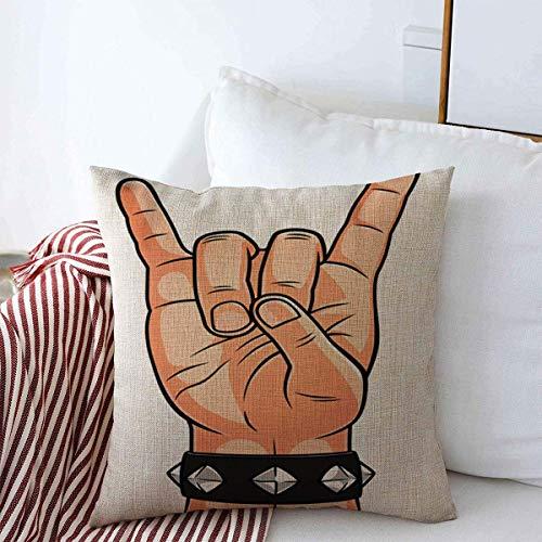 jingqi Wohnkultur Kissenbezüge,Kissenbezug,Kissenschale,Throw Pillowcase Studded Rock Corna Geste Armband Zeichnung Teufel Hand Human Design