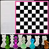 Chess Board Resin Mold Set, 1 Pcs Large Checker Board Epoxy Casting Mold with 6 Pcs 3D Chess Pieces Silicone Molds for DIY Art Crafts Jewelry Making, Family Board Games