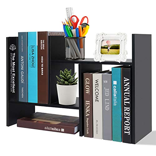 Adjustable Desktop Bookshelf Office Organizer Desk Storage Organizer Display Shelf Rack, Counter Top Bookcase, Black
