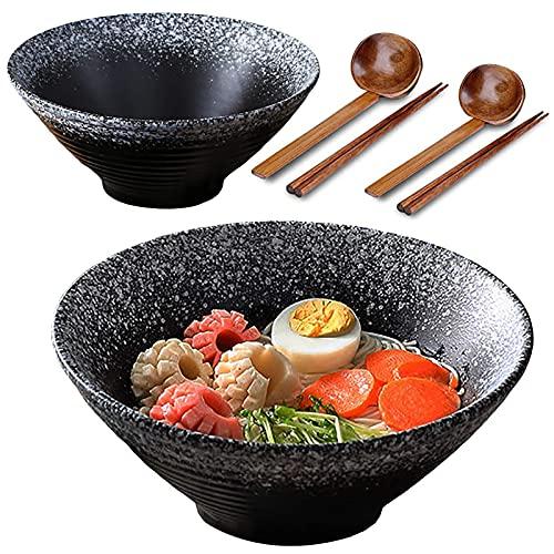 2X Tazón De Ramen Japonés De Cerámica, 8Inch/1080ml, Tazón Sopa Grande con Cuchara Palillos a Juego, Cuenco Cereal, Cuenco Ensalada, Udon, Soba, Asian Fideos (B)