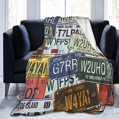 Olverz Manta original para placas de matrícula mullida y cálida para todas las estaciones, manta resistente a la decoloración, manta cómoda de felpa para coche, cama, hogar, camping, 132 x 106 cm