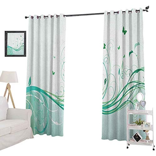 YUAZHOQI Turquoise Room Darkening CurtainsIllustration Floral Victorian Style Curvy Lines Wave Butterfly Design Decorative Curtains for Living Room 52' x 95', Mint Green Pale Green