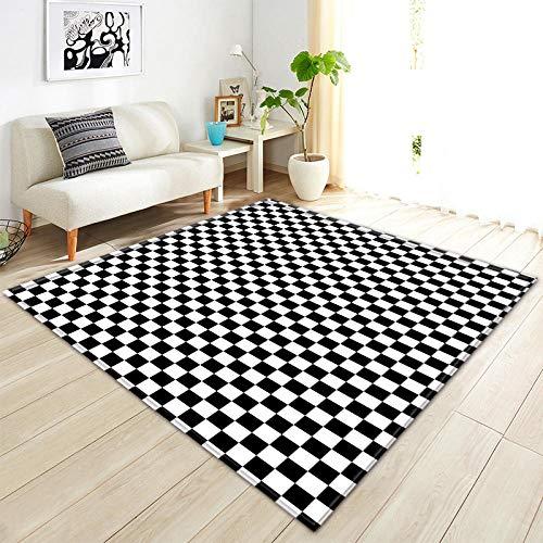 YQZS Ultra Soft rechthoek tapijten zwart en wit vierkante salontafel slaapkamer tapijt huis grote tapijt mat 120X160(47X63inch)