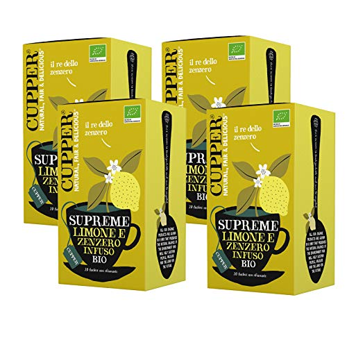 Cupper Infusión Limón Y Jengibre Bio 20 Bolsas (4 X 20 Bolsas) 380 g