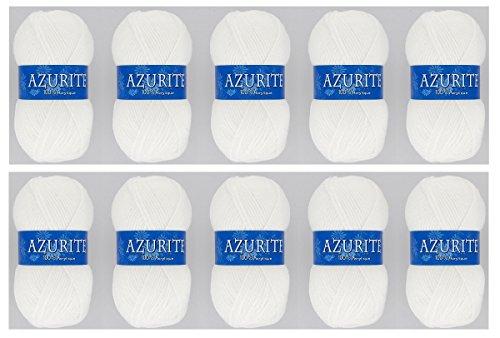 10 wollen bolletjes Azuriet 100% acryl breihaken - wit - 501