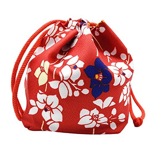 SM SunniMix Borsa Portatile Giapponese con Coulisse Donne Kawaii Packet Party Gioielli da Viaggio Portamonete Borsa da Pranzo Bento Box Food Handbag Pouch - Rosso