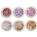 Onsinic 6 Caja De Uñas Secas Nail Set Flor Mini Natural Seco Flores 3D Apliques Arte Decoración Uñas Etiqueta