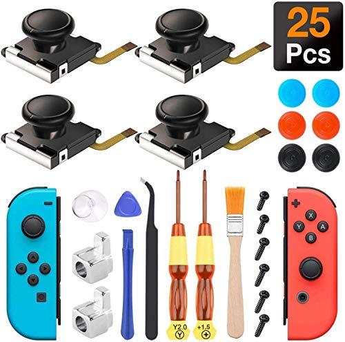 4 Joycon Joystick Reemplazo, Joy Con Mando Nintendo Switch 25 PCS Sendowtek Reemplazo de 3D Joystick Analógico, Herramientas de Reparación con Destornilladores Tornillo Pinzas...