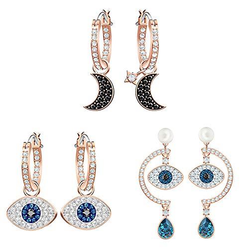 Lucky Meet 3 pares de pendientes de ojo maligno azul CZ mal de ojo para mujeres y niñas, pendientes de boda con gota de ojo azul turco (caja de regalo)