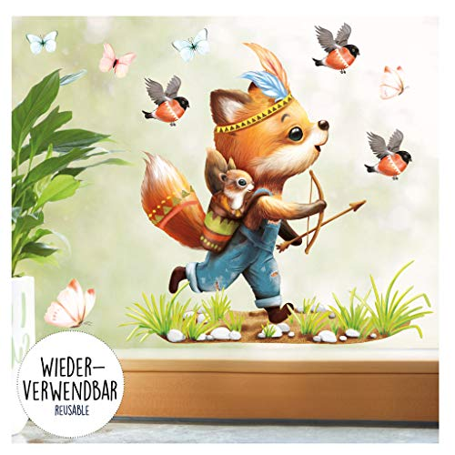 Wandtattoo Loft Fensterbild Frühling Ostern wiederverwendbar Fensteraufkleber Kinderzimmer / 1. Indianer Fuchs (1153) / 1. DIN A4 Bogen