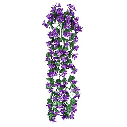 VORCOOL 4petals Künstlich hängende Blumen, Blauregen Hängende Kunstblumen für Hochzeit Haus Dekoration (Dunkeles Lila)