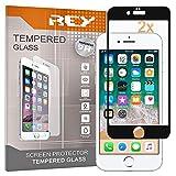 REY 2X Protector de Pantalla 3D para iPhone 6 Plus - iPhone 6S Plus, Negro, Protección Completa, 3D / 4D / 5D