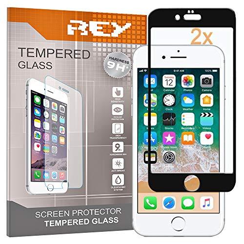 REY 2X Protector de Pantalla 3D para iPhone 7 Plus - iPhone 8 Plus, Negro, Protección Completa, 3D / 4D / 5D