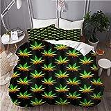 ATZTD Juego de ropa de cama con estampado de marihuana, de poliéster de 3 piezas (135 x 200 cm)