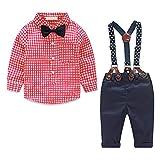 Ropa de Bebe niño otoño Camisas y Pantalones 4 Piezas Conjunto para bebé niño víspera de Todos los Santos Ropa de Maquillaje(Rojo,4-7 Meses)