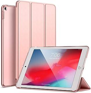 KENKE iPad 9.7 2017/2018 ケース 軽量 薄型 耐衝撃 放熱 三つ折りスタンド オートスリープ機能 傷防止 クリア 背面 保護ケース スマートカバー iPad 第五代/第六代対応 (モデル番号:A1822、A1823、A1893、A1954)(ローズゴールド)
