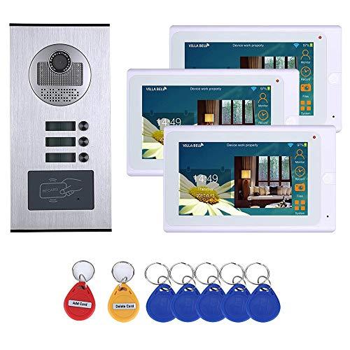 Interfono con vídeo por wifi de 7 pulgadas, 3 interfonos de vivienda RFID IR-CUT HD 1000TVL, cámara de timbre con 3 monitores, resistente al agua