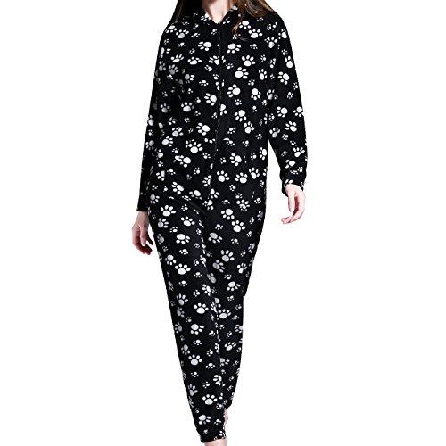 AIREE FAIREE Onesie Damen Strampelanzug Jumpsuit Schlafanzüge Warm mit Kapuze (EU 38, Schwarze Pfote)