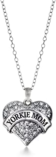 Silver Pave Heart Charm 18 Inch Necklace with Cubic Zirconia Jewelry