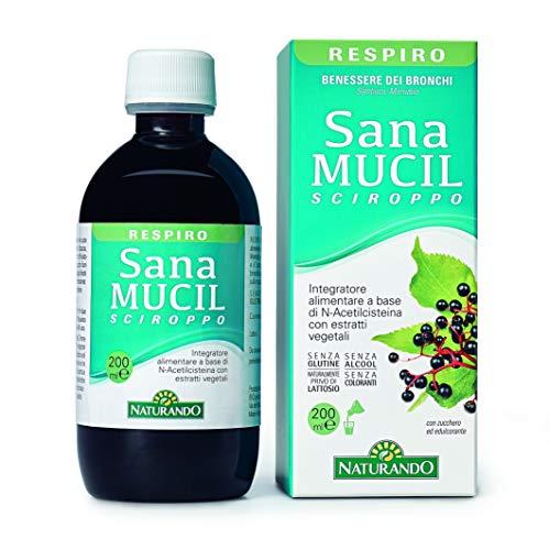 Naturando Sanamucil Sciroppo 200 ml per Contrastare la Tosse e Fluidificare le Secrezioni Bronchiali