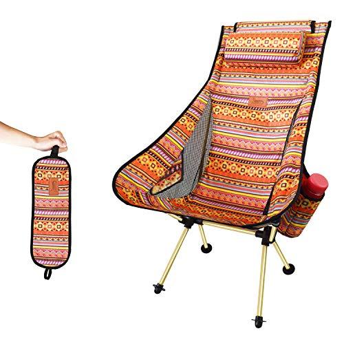 DesertFox アウトドアチェア 折りたたみ 枕付き 超軽量【ハイバック】【 選べる6色】【耐荷重150kg】 コンパクト イス 椅子 収納袋付属 お釣り 登山 携帯便利 キャンプ椅子 0099 (orange/ハイバック)